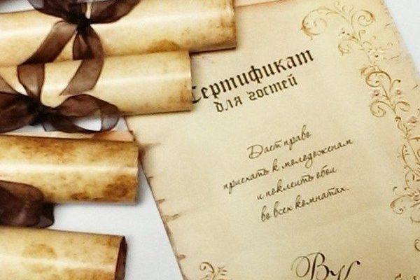 Подарочные сертификаты гостям на свадьбе